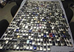 Handout photo shows mobile phones seized by Mississippi …