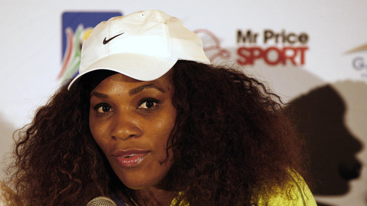 Serena Williams speak during a news conference with her sister Venus, not visible, after leading a workshop at the Arthur Ashe Tennis Centre in Soweto, South Africa on Saturday Nov. 3, 2012. (AP Photo/Themba Hadebe)