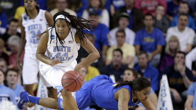 North Carolina guard Tierra Ruffin-Pratt (44) drives past Delaware guard Jaquetta May during the first half of a second-round game in the women's NCAA college basketball tournament in Newark, Del., Tuesday, March 26, 2013. (AP Photo/Patrick Semansky)