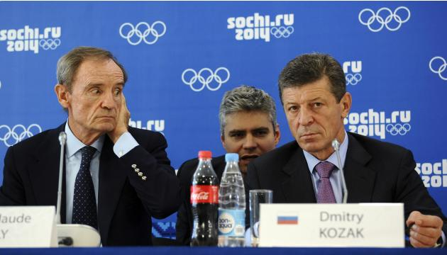 Killy, head of the IOC Coordination Commission to monitor progress for the Sochi 2014 Winter Olympics, and Russia's Deputy PM Kozak attend a news conference in Sochi