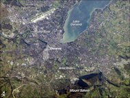 This astronaut photograph shows the city of Geneva, Switzerland, and the southern end of Lake Geneva. The photo was taken in November 2006.