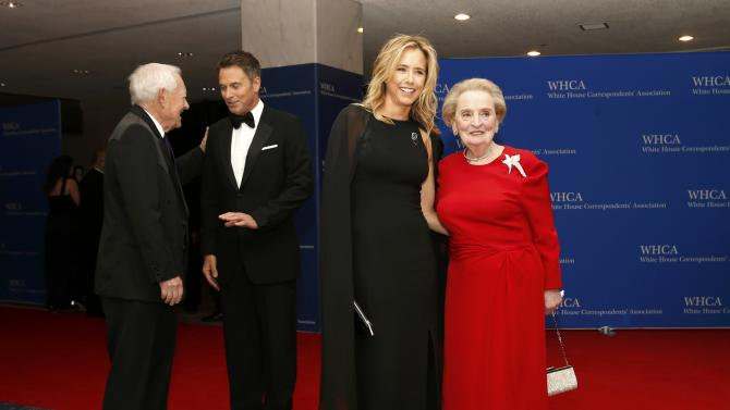 Journalist Schieffer, actor Daly, actress Leoni and former U.S. Secretary of State Albright arrive for the annual White House Correspondents' Association dinner in Washington