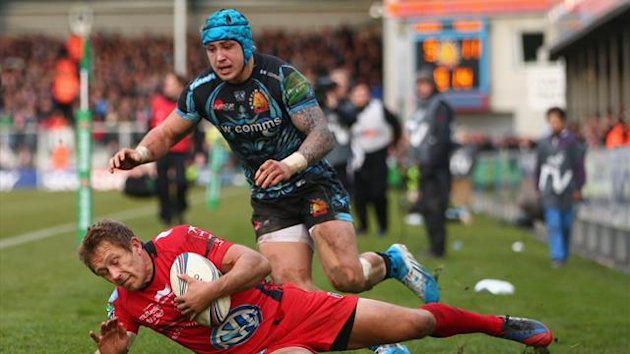 Jonny Wilkinson of Toulon is bundled into touch by Jack Nowell of Exeter Chiefs during the Heineken Cup Pool Two match between Exeter Chiefs and Toulon at Sandy Park on December 7 (Getty)