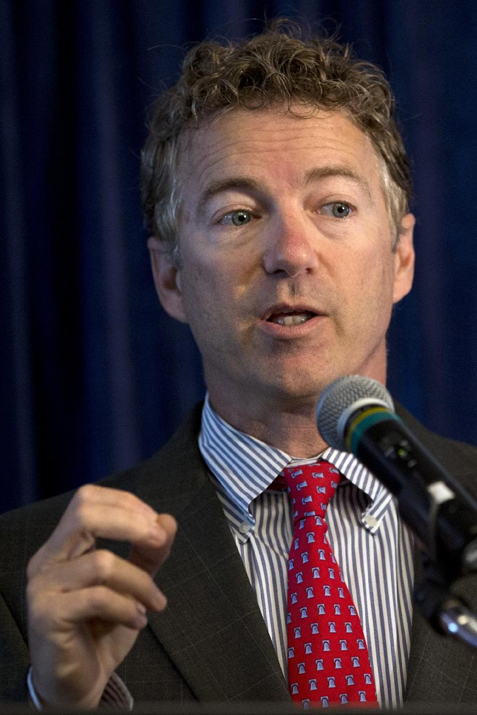 Sen. Rand Paul, R-Ky. speaks at a forum on immigration organized by the Latino Partnership for Conservative Principles and the National Hispanic Christian Leadership Conference, Wednesday, June 12, 2013, at the Hyatt Regency Hotel in Washington. (AP Photo/Jacquelyn Martin)