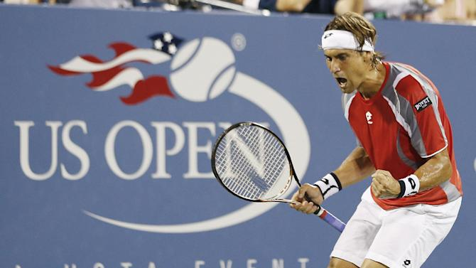 Spain's David Ferrer reacts during his match against Richard Gasquet, of France, in the fourth round of the 2012 US Open tennis tournament, Tuesday, Sept. 4, 2012, in New York. (AP Photo/Julio Cortez)