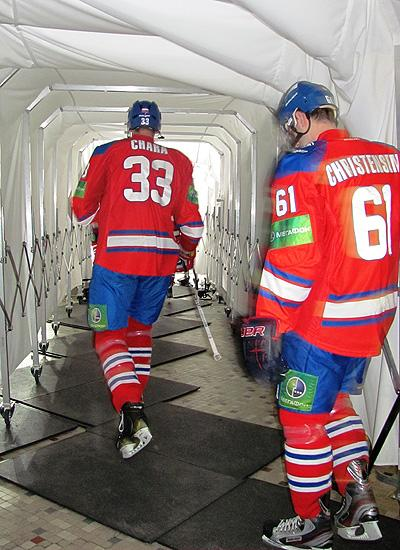 KHL teammates Zdeno Chara and Erik Christensen walk down the tunnel (#NickInEurope)