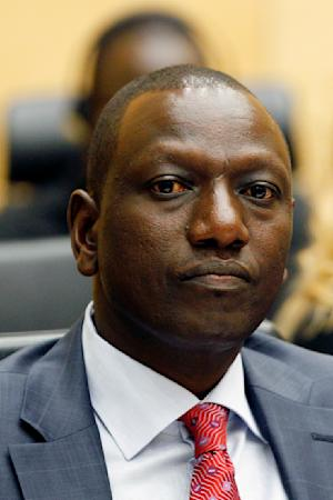 Former Kenyan Education Minister William Samoei Ruto sits in the courtroom of the International Criminal Court (ICC) in The Hague, Netherlands, Thursday, Sept. 1, 2011. Ruto is one of three senior Kenyan leaders appearing at the International Criminal Court for a hearing at which judges will decide whether evidence against them is strong enough to merit putting them on trial on charges of orchestrating deadly violence in the aftermath of disputed 2007 elections. (AP Photo/Bas Czerwinski)