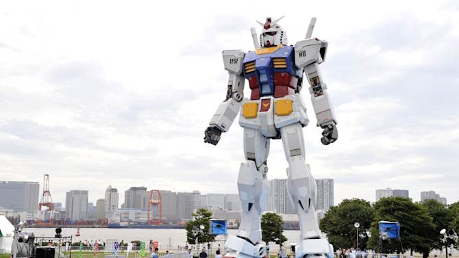 This file picture taken on July 10, 2009 shows an 18-metre tall statue of the Gundam robot in Tokyo park