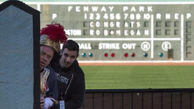 "Actors Larry Coen and Paul Melendy rehearse a scene before the Commonwealth Shakespeare Company's production ""Shakespeare at Fenway"" at Fenway Park in Boston"