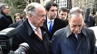 T. Boone Pickens and Bloomberg outside New York City Hall