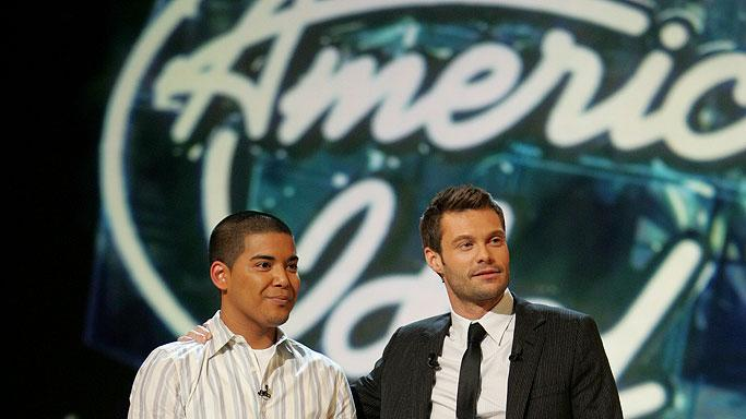 AJ Tabaldo (L) is elimintated on Season 6 of American Idol.