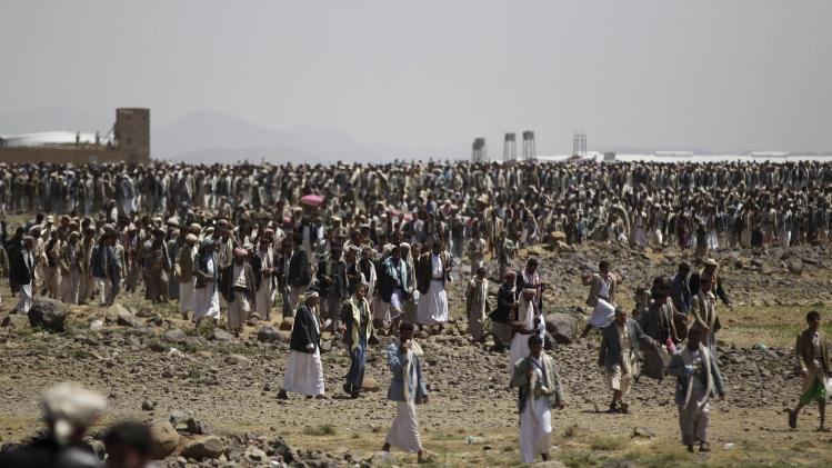 Followers of the Shi'ite Houthi group attend a gathering near the Yemeni capital Sanaa