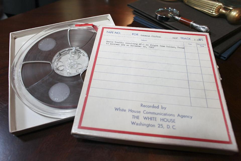 Shown Wednesday Nov. 9, 2011, in Philadelphia, are recently discovered White House communications tapes made in the immediate aftermath of President John F. Kennedy's assassination involving Air Force One in flight from Dallas on November 22, 1963. (AP Photo/ Joseph Kaczmarek)