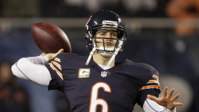 Chicago Bears quarterback Jay Cutler (6) warms up before an NFL football game against the Houston Texans in Chicago, Sunday, Nov. 11, 2012. (AP Photo/Nam Y. Huh)