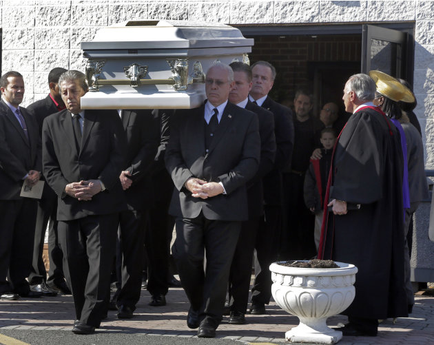 The casket of Sarai Sierra, is carried from the Christian Pentecostal Church,after her funeral in the Staten Island borough of New York,  Friday, Feb. 15, 2013.  The 33-year-old mother of two was kill