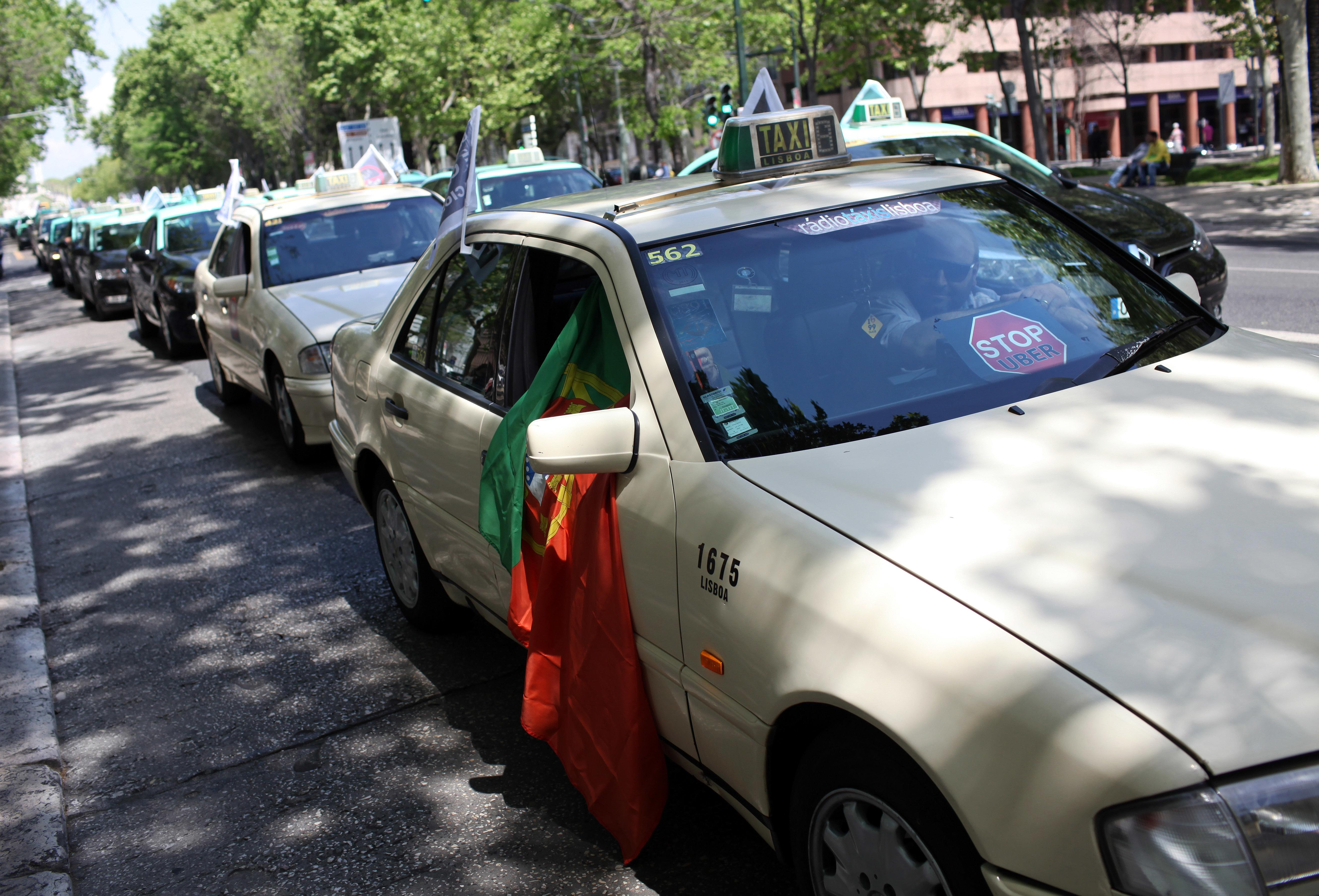 Taxis jam Lisbon traffic in latest European Uber protest
