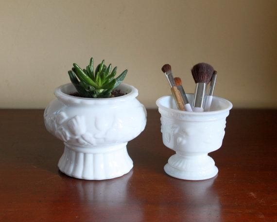 Vintage Milk Glass Planters (Set of 2)