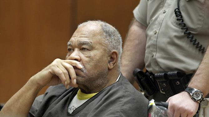 In this Monday, March 4, 2013 photo, Samuel Little, a suspected serial killer, appears at Los Angeles Superior Court in Los Angeles. Little, 72, was arrested in Louisville, Ky., in September by U.S. Marshals on an unrelated narcotics warrant while investigators built their case. He later waived extradition and was brought to Los Angeles, where he was charged with three murder counts and the special circumstance allegation of multiple murders. (AP Photo/Damian Dovarganes)