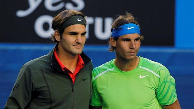 Roger Federer of Switzerland (L) and Rafael Nadal of Spain