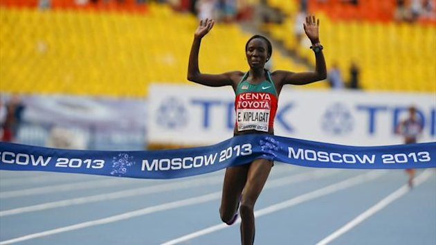 Edna Ngeringwony Kiplagat of Kenya crosses the finish line to win the women's marathon during the IAAF World Athletics Championships (Reuters)