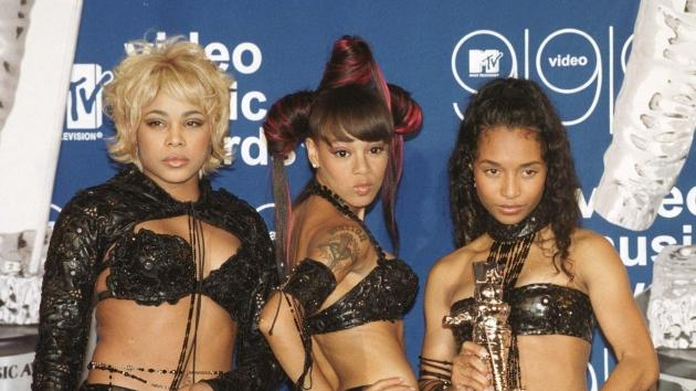 TLC posing with their MTV Video Music Award for Best Group Video for their video 'No Scrubs' during the ceremony at the Metropolitan Opera House at the Lincoln Center in New York on September 10, 1999 -- Getty Premium