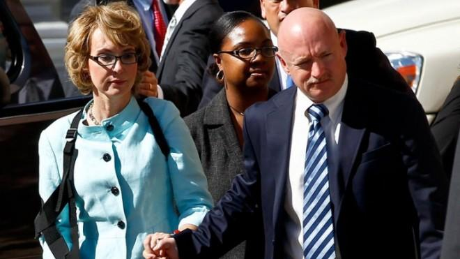 Former Democratic Rep. Gabrielle Giffords, and her husband Mark Kelly after the sentencing of Tucson shooter, Jared Lee Loughner, on Nov. 8, 2012.