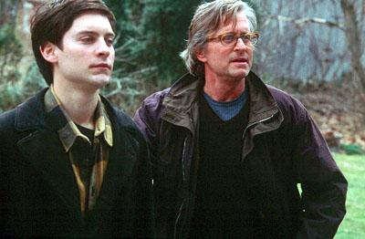 Tobey Maguire as James Leer and Michael Douglas as Grady Tripp in Paramount's Wonder Boys