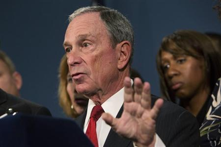 "New York City Mayor Bloomberg, along with survivors and family members of gun violence victims, addresses the media to announce the release of ""I Demand a Plan"" videos in New York"