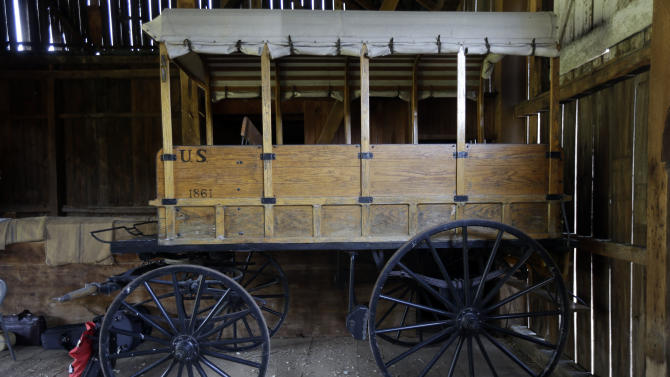 Shown is a replica of a Rucker ambulance at the Pry House Field Hospital Museum Friday, June 21, 2013, in Keedysville, MD. The house is located on the Antietam Battlefield, which served both as Union General George McClellan's and Union Army Maj. Dr. Jonathan Letterman's headquarters during the battle. As gunshots ravaged the bodies of tens of thousands of soldiers at the Battle of Gettysburg, military doctors responded with a method of treatment that is still the foundation of combat medicine today. (AP Photo/Matt Rourke)