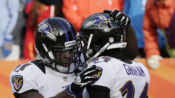 Baltimore Ravens strong safety Bernard Pollard congratulates Baltimore Ravens cornerback Corey Graham, right, after Graham returned an interception for a touchdown against the Denver Broncos in the first quarter of an AFC divisional playoff NFL football game, Saturday, Jan. 12, 2013, in Denver. (AP Photo/Joe Mahoney)