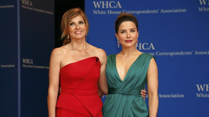 Actresses Britton and Bush arrive for the annual White House Correspondents' Association dinner in Washington