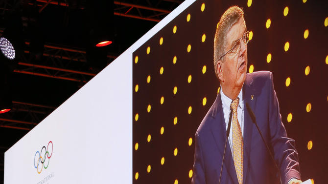 Thomas Bach, president of the International Olympic Committee (IOC) speaks during the presentation for the host city for the 2020 Youth Winter Olympics, in Kuala Lumpur, Malaysia, Friday, July 31, 2015. (AP Photo/Vincent Thian, Pool)