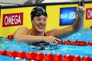 Allison Schmitt celebrates after she won the championship final of the Women's 200m freestyle during Day Four of the 2012 US Olympic Swimming Team Trials at CenturyLink Center, on June 28, in Omaha, Nebraska. Schmitt finished in the time of 1:54.40sec