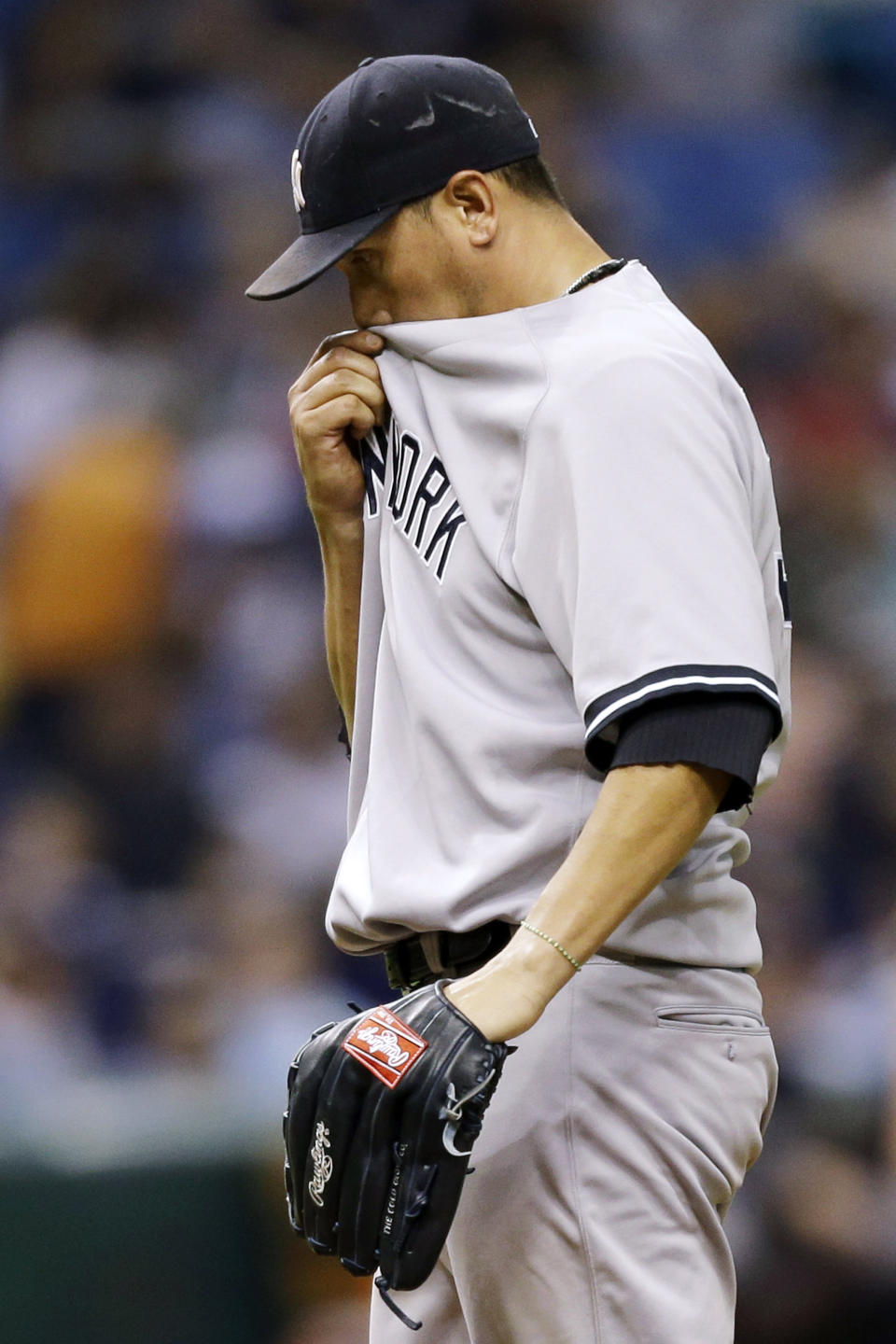 New York Yankees starting pitcher Freddy Garcia reacts during the fifth inning of a baseball game against the Tampa Bay Rays, Tuesday, Sept. 4, 2012, in St. Petersburg, Fla. (AP Photo/Chris O'Meara)