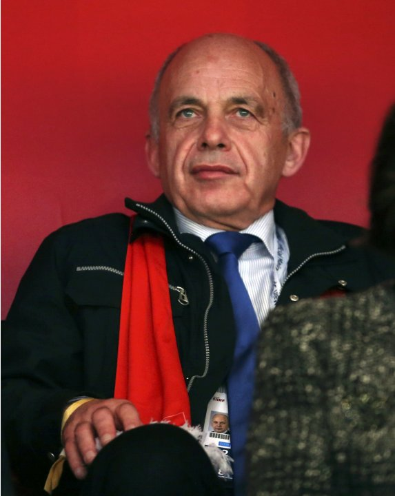 Swiss President and Defence Minister Ueli Maurer attends the 2013 IIHF Ice Hockey World Championship semi-final match between Switzerland and Team USA at the Globe Arena in Stockholm
