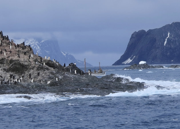 In this Feb. 7, 2013 photo released by Shackleton Epic, the expedition crew on their boat Alexander Shackleton pass Point Wild on Elephant Island in the Southern Ocean. A modern-day team of six led by