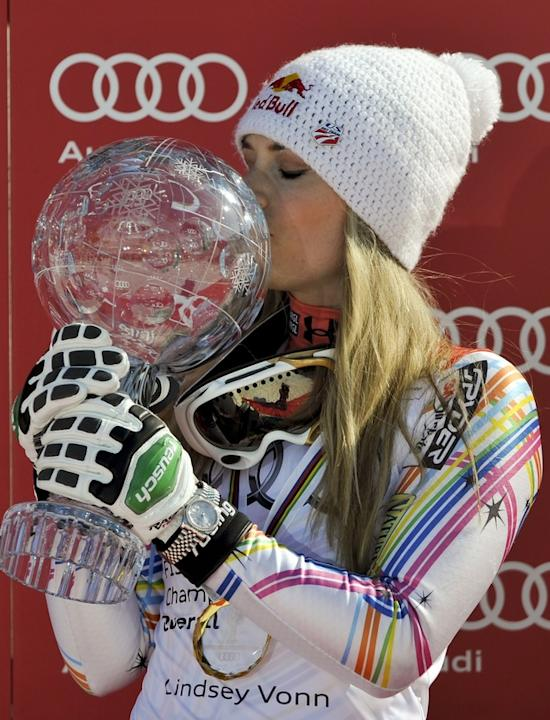 Lindsey Vonn From The US Kisses AFP/Getty Images