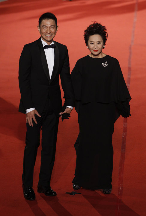 Hong Kong actor Andy Lau, left, and actress Deanie Ip arrive at the 48th Golden Horse Awards in Hsinchu, north eastern Taiwan. The Golden Horse Awards is one of the Chinese-language film industry's bi
