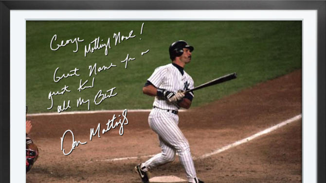 This undated photo provided by Egraphs shows an Egraph signed by former New York Yankees baseball player Don Mattingly. Egraphs, launched at the All-Star break, is a technological breakthrough that offers an autographed digital picture with a handwritten note and a personalized audio message for $50. (AP Photo/Egraphs)