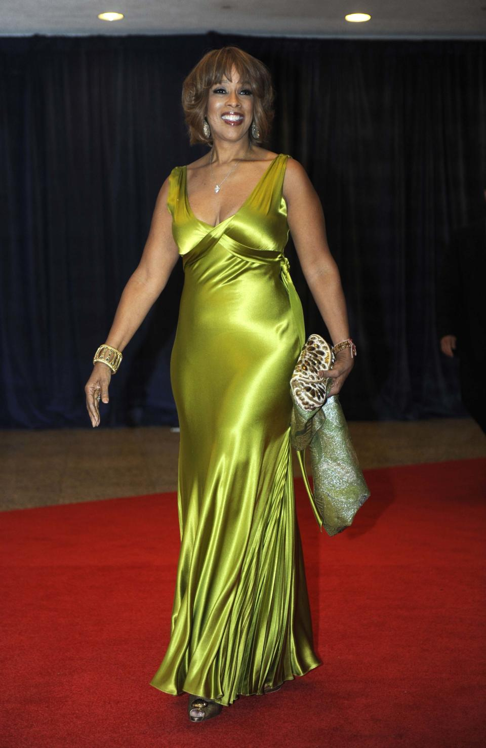Gayle King arrives at the White House Correspondents' Association Dinner on Saturday, April 28, 2012, in Washington. (AP Photo/Kevin Wolf)