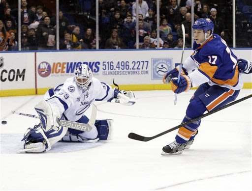 New York Islanders' Matt Martin, right, scores past Tampa Bay Lightning goalie Anders Lindback during the second period of the NHL hockey game Monday, Jan. 21, 2013, in Uniondale, N.Y.  (AP Photo/Seth Wenig)