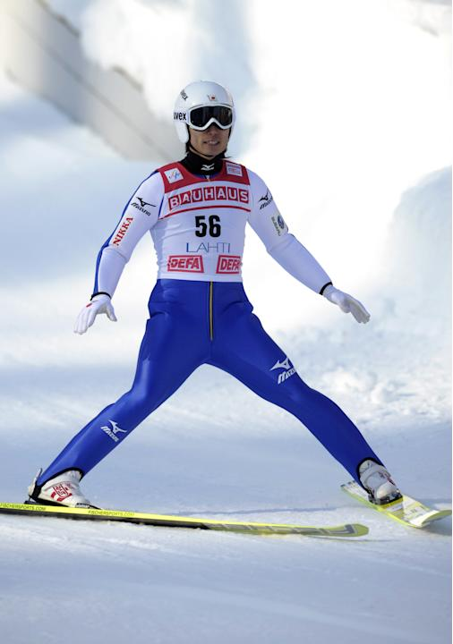 First-placed Daiki Ito of Japan reacts after his second jump in the Normal Hill (HS97) World Cup ski jumping event during the FIS World Cup Lahti Ski Games in Lahti, on March 4, 2012 at the Lahti Ski