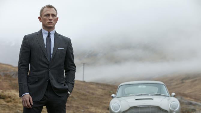 """FILE - This undated handout file photo released by Columbia Pictures shows Daniel Craig as James Bond in the action adventure film, """"Skyfall."""" According to studio estimates Sunday, Dec. 9, 2012, """"Skyfall"""" took in $11 million to move back to No. 1 in its fifth weekend. That puts it narrowly ahead of """"Rise of the Guardians,"""" the animated adventure of Santa, the Easter Bunny and other mythological heroes that pulled in $10.5 million.(AP Photo/Sony Pictures, Francois Duhamel, File)"""