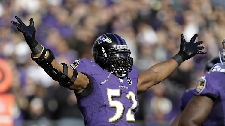 Baltimore Ravens inside linebacker Ray Lewis (52) celebrates after a play during the first half of an NFL wild card playoff football game against the Indianapolis Colts Sunday, Jan. 6, 2013, in Baltimore. (AP Photo/Patrick Semansky)