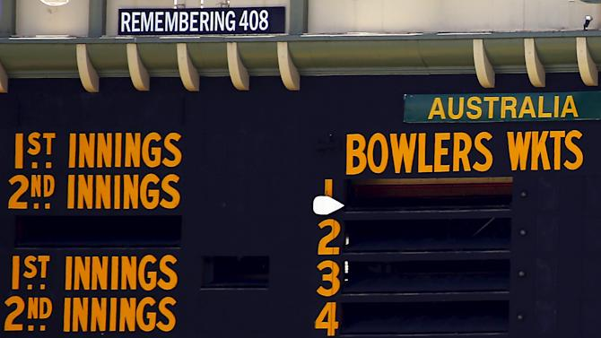 A tribute to former Australian cricketer Hughes, who was the 408th player for Australia, is displayed on the scoreboard on the first day of the third cricket test match between Australia and New Zealand at the Adelaide Oval in South Australia