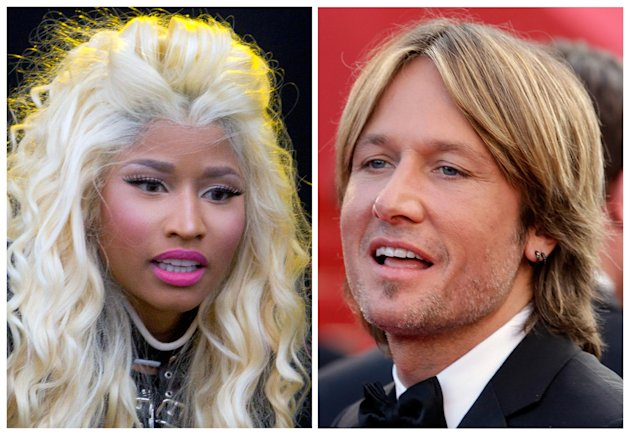 This photo combination shows musicians Nicki Minaj, left, and Keith Urban. The &quot;American Idol&quot; judges&#39; panel is now complete with the naming of singer-rapper Minaj and country crooner Urban. The Fox network officially tapped the pair with an announcement Sunday, Sept. 16, 2012, just hours before the first round of judging for next season was due to begin in New York. (AP Photo)