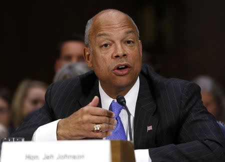 U.S. Homeland Security Secretary Johnson testifies before a Senate Appropriations hearing on Capitol Hill in Washington