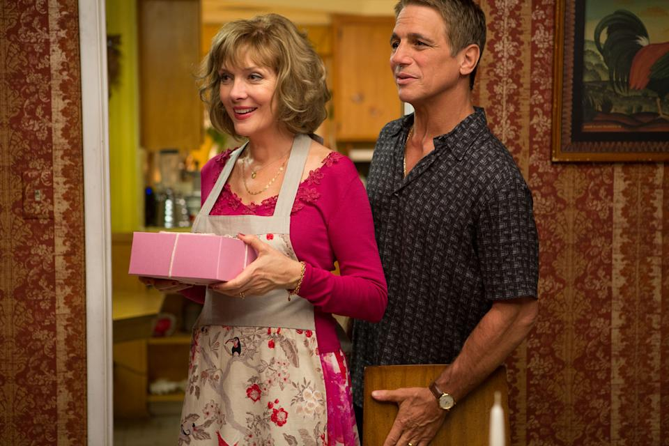 "This film image released by Relativity Media shows Glenne Headly, left, and Tony Danza in a scene from ""Don Jon"". (AP Photo/Relativity Media, Daniel McFadden)"