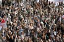Houthi followers take part in a demonstration against the United Nations in Sanaa
