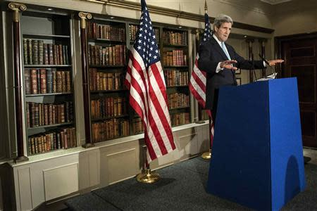 U.S. Secretary of State John Kerry speaks during a press conference in London